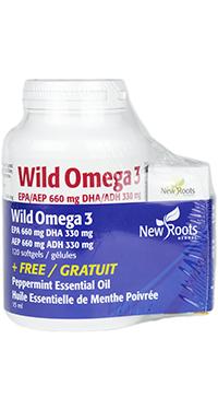 Wild Omega 3 EPA 660mg DHA 330mg + FREE Organic Peppermint Essential Oil